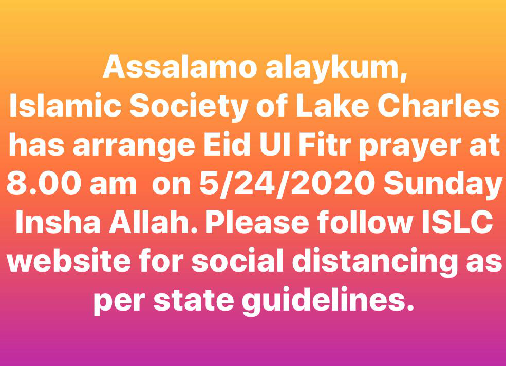 Eid Sunday – May 24 8:00am With Mandatory Guidelines Below